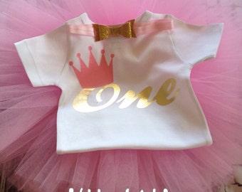 Pink and gold first birthday tutu set, birthday tutu set