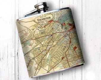 EDINGURGH Map, Whiskey FLASK, Vintage Hip flask, retirement gift for women, Scotland Map