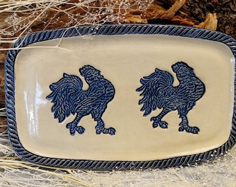 Blue and White Rooster Stoneware Snack or Cheese Tray