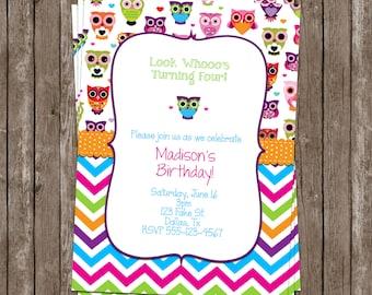 SALE 50% OFF Custom Owl Invitation