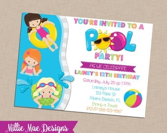 Custom Pool Party Invitation - Birthday - Pool Party