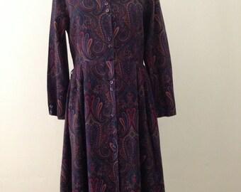 1970's Paisley Print Dress