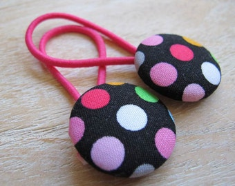 Fabric Covered Button Hair Elastic – Dots  (Set of 2)