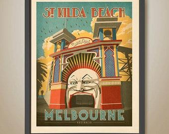 Luna Park Melbourne. St.Kilda. St.Kilda Beach. Melbourne Print.