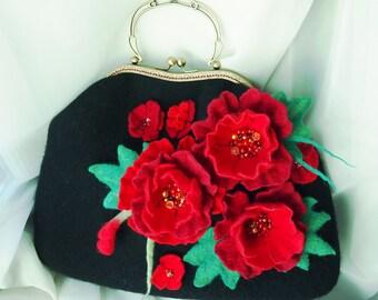 Felted wool bag-Felt handbag-felted wool purse-Wet felted bags-flower bag-red bag-Art bag