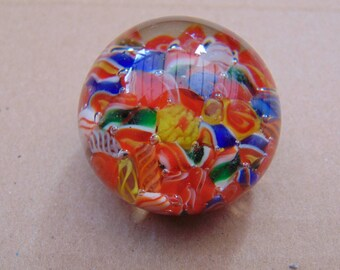 Small Millefiore Glass Paperweight Multicolour