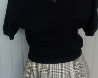 Groovy 80s check wool pencil skirt black and white houndstooth
