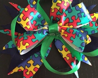 Austism awareness bow.puzzle piece bow.austism headband
