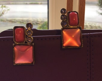 French Earrings Handmade Pink Stone Earrings French Studio Art Jewellery. Comfortable Jewellery Earrings Pastel Pink Dark Cerise 3 Amethyst