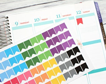 Mini Page Flag Planner Stickers - Pastel or Bright - Matte