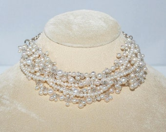 Fresh Water Pearls, Swarovski Crystals and Silver Necklace