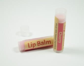 Cherry Lip Balm - All Natural Lip Balms with Beeswax, Cocoa Butter, Shea Butter, Vitamin E, Aloe Vera, Sunflower & Soybean Oil, Chapstick