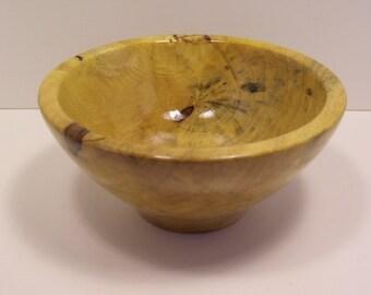 Decorative lathe turned wooden bowl.