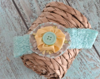 Yellow & Mint yoyo headband