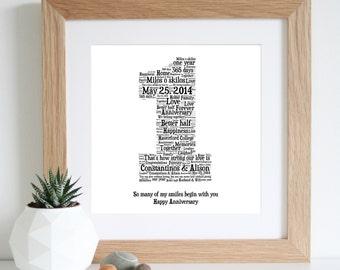1st ANNIVERSARY GIFT - Word Art - Paper Anniversary - Personalised Gifts - 1st Wedding Anniversary - Art Print - Unique Gift - Printable Art