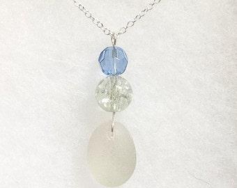 Stunning sea glass pendant with crystal beads
