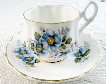 Blue Flower Tea Cup and Saucer, Vintage Bone China, English Tea Cup