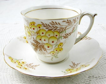 Vintage Tea Cup and Saucer by Bell China, English Bone China, Hand Painted