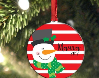 Snowman Christmas Ornament, Personalized with Name, 2016 Name Ornament