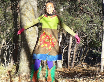 winter dress in patchwork