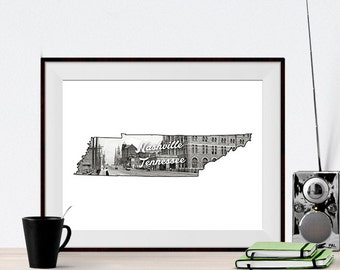 Nashville Tennessee State City Art Print Poster of Union Station 1900