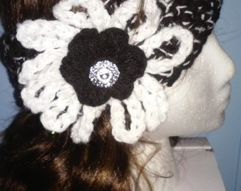 Headband, cold weather headband for women, black and white headband, cold weather headband with rhinestone button, flower headband