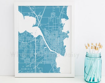 Oshkosh Map Oshkosh Art Oshkosh Map Art Oshkosh Print Oshkosh Printable Oshkosh City Art Oshkosh City Map Wisconsin Art