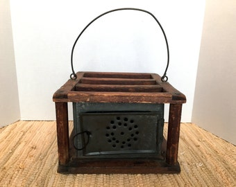 Mid 19th Century Pierced Tin/Wooden Frame Foot Warmer