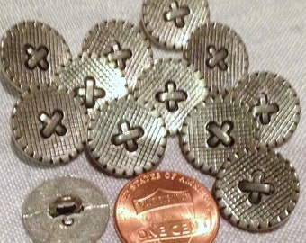 """Lot of 12 Silver Tone Metal Shank Buttons Criss Cross Front 9/16"""" 15mm # 7488"""