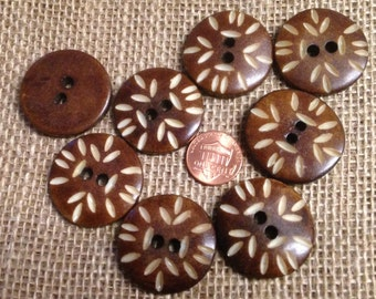 """Lot of 8 Large Brown Carved Bone Buttons Sew-through 1 1/4"""" 31mm # 7262"""