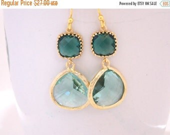 SALE Wedding Jewelry, Gold, Erinite and Teal Earrings, Erinite Green, Erinite Aqua, Bridesmaid Jewelry, Bridesmaid Earrings, Dangle, Gifts
