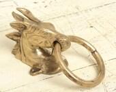Antique solid brass horse doorknocker, door knocker horse head, brass horse, bonze horses figures