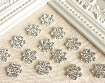 Rhinestone Flower Push Pins, Sparkly Flower Rhinestone Thumbtack, Shiny Pinboard, White Gem Tack, Bling Pins, Floral Blings, Chic Rhinestone