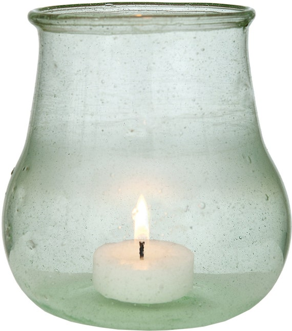 Light green recycled glass vase and candle holder by