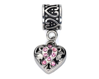 Stainless Steel Breast Cancer Awareness Ribbon Charm, Pink Ribbon Dangle Heart Beads, Fits European Charm Bracelet
