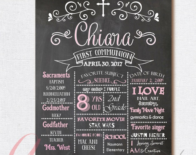 Chalkboard poster. Baptism poster. First Communion Poster. First Communion Chalkboard Poster. First Holy Communion. Baptism Chalkboard.