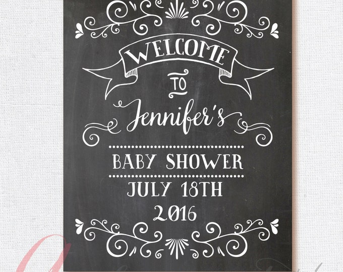 Welcome Baby Shower Sign. Chalkboard Welcome Sign. Printable Chalkboard  Poster. Chalkboard Babyshower Sign
