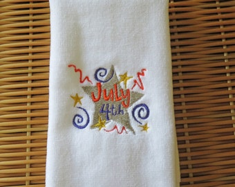 July 4th Fingertip Guest Towel Embroidered Handmade