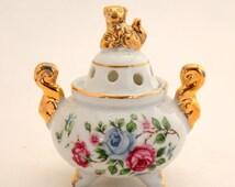 Japanese Incense Burner, Porcelain Meditation, Altar and Ritual Tool, 3 Footed Cauldron Shape Incense Urn