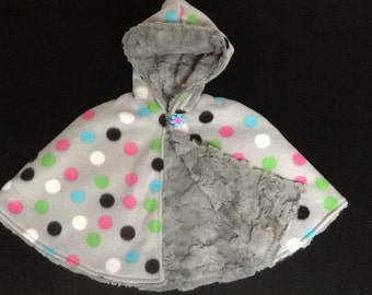 Grey Polka Dot Cozy Faux Fur Reversible Hooded Capelet or Poncho
