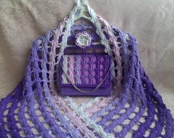 Crochet shawl. Crochet stole. Crochet handbag. Crochet small handbag. Finished work, author's work. Crochet bag Evening handbag crocheted