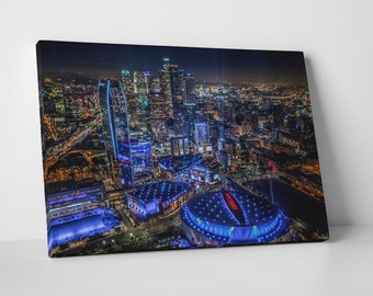Los Angeles Downtown Top Down Skyline Gallery Wrapped Canvas Print