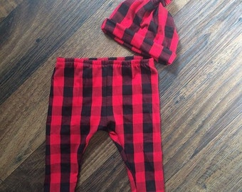 Red and Black Buffalo Plaid Leggings