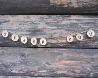 Rustic wood slice thank you banner, thank you banner, rustic thank you banner, thank you wedding banner, woodland shower banner, thank you