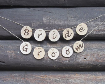 Bride and Groom wood signs, rustic bride and groom banner, rustic bride and groom chair set, rustic wedding banner, rustic wedding decor