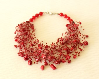 Red necklace Gift for her  Airy crochet necklace Wedding jewelry Red illusion necklace Multistrand airy necklace Bright beaded Jewelry