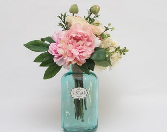 Silk touch Pink roses, Beige ranunculus, Pink peonies, Off-white hydrangea and Berries wedding centerpiece office home decor without vase