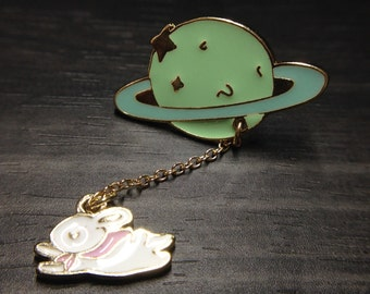 Saturn with Rabbit Enamel Brooch Jewelry Accessories for Women Brooches_002