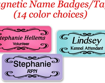 Magnetic Name Tags, Magnetic Name Badge, Magnetic Badge, Name badge, Name Tag, Abstract Name Tag, ID Tag, Custom Name Tag, Plastic - ABSET5