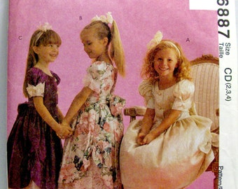 McCALL'S 6887, UNCUT, Children's and Girls' Dresses. Sizes: 2-3-4.